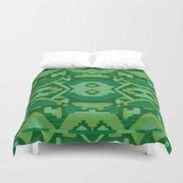 Geometric Aztec in Forest Green Duvet Cover