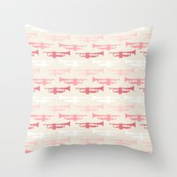 trumpet Throw Pillows featuring Trumpet by Background Labs