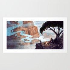 Mist-Covered Mountain Art Print