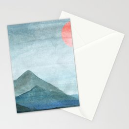 Red Sun Mountain Range Silhouette Landscape Stationery Cards