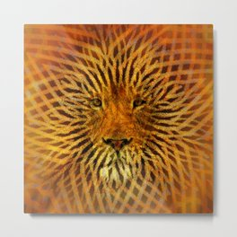 A design that incorporates zebra stripes and the face of a Lion Metal Print
