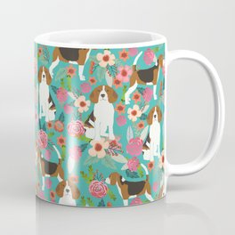 Beagle dog florals dog breed pattern must have cute gifts for pure bred dogs Coffee Mug