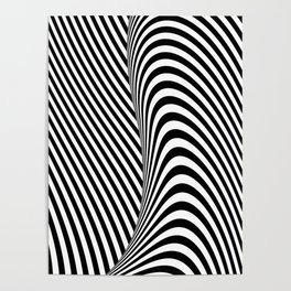Black and White Pop Art Optical Illusion Lines Poster