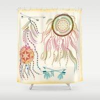 dream catcher Shower Curtains featuring Dream Catcher by famenxt