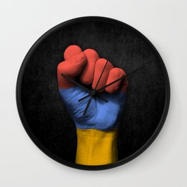 Armenian Flag on a Raised Clenched Fist Wall Clock