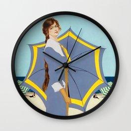 "C Coles Phillips ""Beach Umbrella"" Fadeaway Girl Wall Clock"