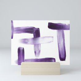 Purple Brush Strokes on White Mini Art Print