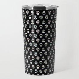 Black and White Adorable Smiling Skulls Pattern Travel Mug