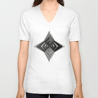cyberpunk V-neck T-shirts featuring Time vs. Monolith by Obvious Warrior