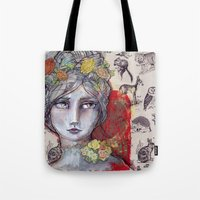jane davenport Tote Bags featuring Nature Study by Jane Davenport by Jane Davenport