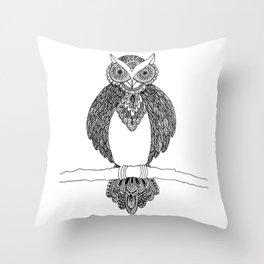 Intricate night owl doodle Throw Pillow