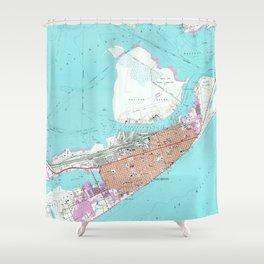 Vintage Map of Galveston Texas (1954) 2 Shower Curtain