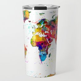 Map of the World Map Watercolor Travel Mug