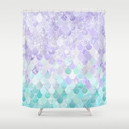 Mermaid Iridescent Purple and Teal Pattern Shower Curtain