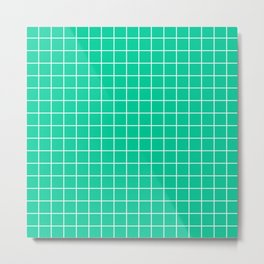 Caribbean green - green color - White Lines Grid Pattern Metal Print