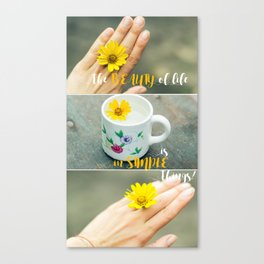 Female hand with small flower as ring Canvas Print