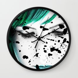 Beauty Woman Looking down Close Up Artistic Portrait Wall Clock