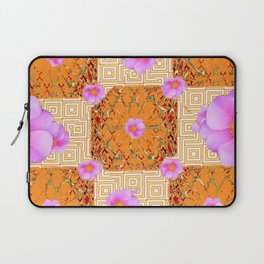 Quilted Style Fuchsia Pink Wild Rose Orange Pattern Abstract Laptop Sleeve