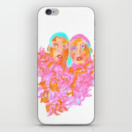 Pink Ladies blue hair pink boa gemini twins iPhone Skin