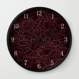 Dark frayed leather texture abstract Wall Clock