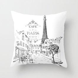 Cafe Paris Throw Pillow