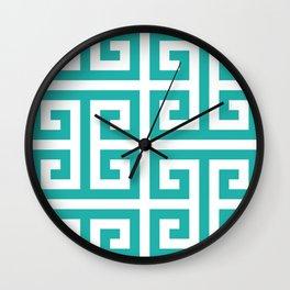 Large Light Sea Green Greek Key Pattern Wall Clock