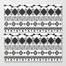 Aztec black white pattern. Canvas Print