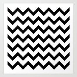 Simple Black and white Chevron pattern Art Print