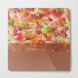 Layers Floral Wood Metal Print