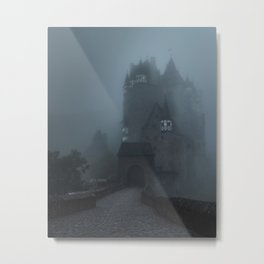 Eerie Castle Eltz in the mist Metal Print