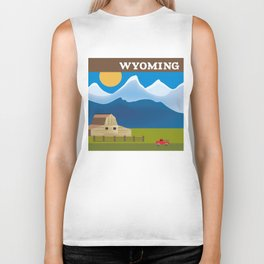 Wyoming - Skyline Illustration by Loose Petals Biker Tank