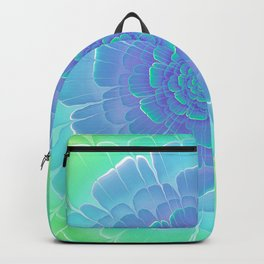 Romantic blue and green flower, digital abstracts Backpack