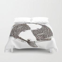 Pisces - Fish Koi - Japanese Tattoo Style (black and white) Duvet Cover