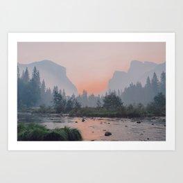 Yosemite Valley Sunrise Pretty Pink Art Print