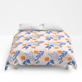 Floral Pattern Indigo Orange Blue Comforters