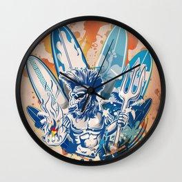 warrior surfer Wall Clock