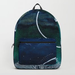 Crescent Moon Mixed Media Painting Backpack