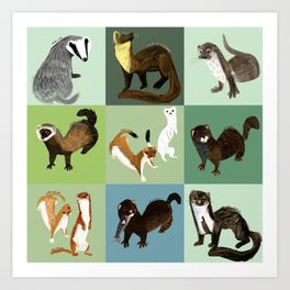 Best Nine  Mustelids from Spain Art Print