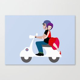 Couple on a motorcycle II Canvas Print