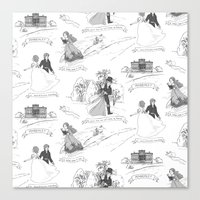 pride and prejudice Canvas Prints featuring Pride and Prejudice Toile by Aimee Steinberger