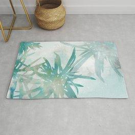 Aqua Blue Watercolor Palm Leaves Painting Rug