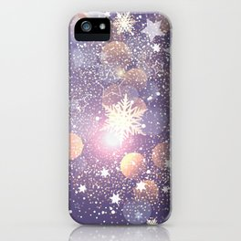 Decorative Christmas Card With Bokeh Lights iPhone Case