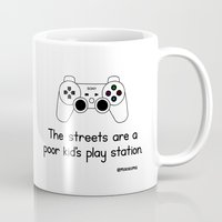 playstation Mugs featuring PlayStation by Mokokoma Mokhonoana