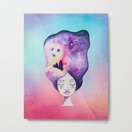 Galaxy Moonscape Hair Whimsical Girl - Watercolor Galaxy Night Sky Metal Print
