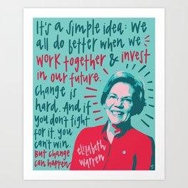 Elizabeth Warren. Art Print