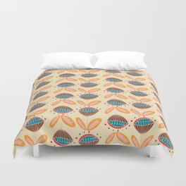 Mid Century Beige Floral Pattern Duvet Cover