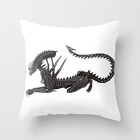 xenomorph Throw Pillows featuring Xenomorph Warrior Babe by Aisha Diandra