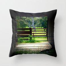 Looking through an old cattle Shed Throw Pillow