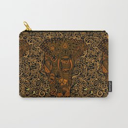 Aztec Elephant With Floral Pattern Carry-All Pouch