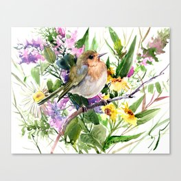 Robin and Summer Flowers Canvas Print
